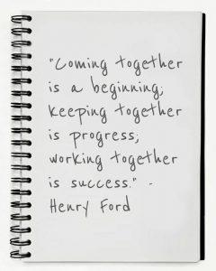 Quote. Alles draait om samenwerken en elkaar ondersteunen.